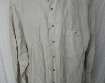 Vintage Quickreflex Mens Linen Blend Long Sleeved Shirt  Size L Large Used Condition Worldwide Shipping