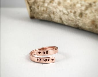 Be Happy Ring, Metal Stamped Ring, Personalized Wrap Ring, Copper Ring,Gift For Her, Hand Stamped Ring