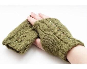 Khaki green mitts to knit Kit