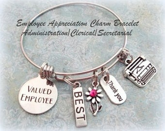 School Secretary Appreciation, Employee Appreciation Gift, Employee Recognition Charm Bracelet, Employee of the Month, Gift for Secretary