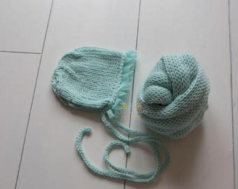 Photo prop knitted newborn baby wrap