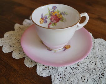 Royal Stafford Teacup & Saucer, No. 1816. Pale Pink