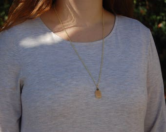 Citrine Genuine Gemstone Pendant Long Layering Necklace