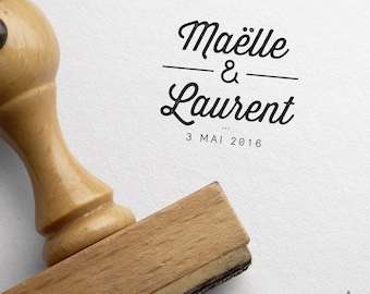 Personalized Elegant wedding stamp - Names and Date of marriage - Vintage wedding.