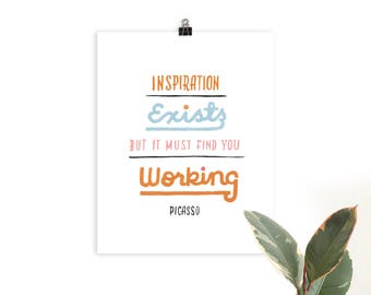 Picasso Quote Hand Lettered Print