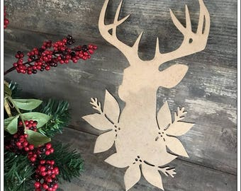 A nice deer wooden raw decoration Christmas height 26 cm
