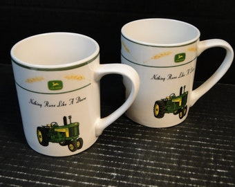 TWO Gibson John Deere Cups Mugs Amber Waves Wheat Tractor Set of 2 EXCELLENT!