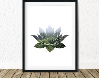 Lotus Poster,  Forest Print Art, Printable Forest Art, Foggy Forest, Yoga Printable Art, Yoga Poster, Nature Lover Gift, Gift for Her