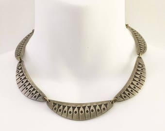 Swedish Modernist Pewter Choker Necklace Marked Handarbete Tenn Signed Valentin Midcentury Modern Jewelry