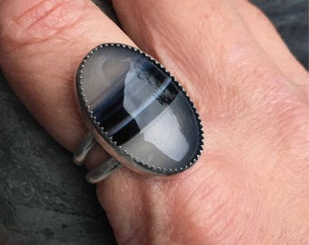 Onyx Ring, Banded Onyx Ring, Sterling Silver Ring, Unisex Ring, Size 8 Ring