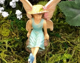 Miniature Fairy in Blue with a Blue Bird on Her Foot!