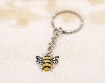 Enamel Bee On Silver Keyring
