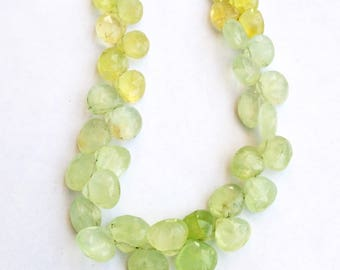 "1 Strand Natural Prenite  8-9mm  Faceted  pear shape  Gemstone Beads 9"" long strand By SHAMSHAD GEMS"