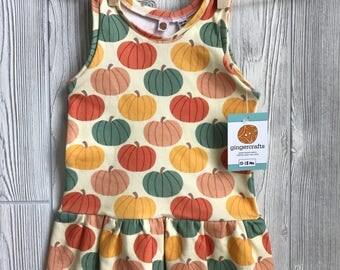 Organic Cotton Girls Dress - Pumpkin Print
