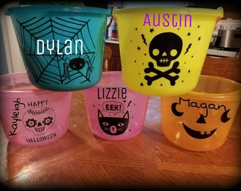 Personalized Halloween bucket, Personalized, Halloween Basket, Trick or treat bag, girls basket, boys basket, Halloween bag