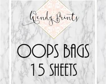 OOPs Misfit Bags, 15 full sheets, oops bags, sticker sheets, stickers, planner stickers, miscut stickers, grab bag, oops bundle, sticker kit