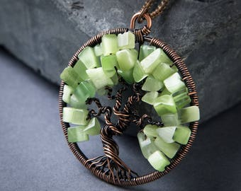 Tree of Life Pendant - Spring Green Pendant - Wire Wrapped Pendant