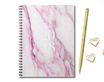Agenda 2018 - 2018 Weekly Planner - Personalized Planner - Academic Planner - 2018 Planner - 2018 Calendar - Pink marble planner