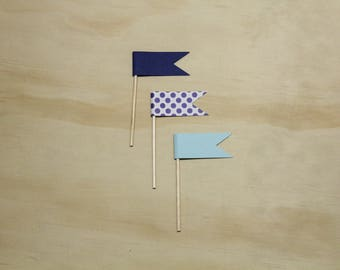 Blue and Polka Dot Cupcake Toppers, Flags, Blue, Polka Dot, Cardstock, Party Decor