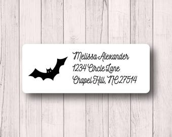 Halloween Labels - Bat Labels - Return Address Labels - Fall Party - Spooky - Halloween Party Invitation Labels - White, Kraft, or Clear
