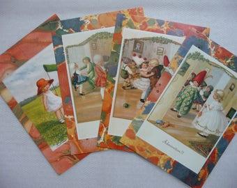 4 adorable retro kids cards