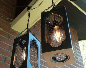 Rustic Edison Bulb Cage Lanterns
