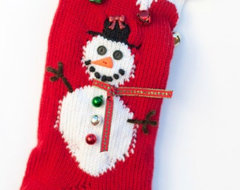 Personalized Knit Red Snowman Christmas Stocking Extra Large