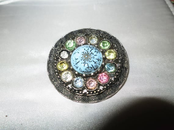 Lovely vintage Czech turquoise and pastel glass brooch