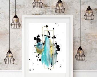 A3 Print Poster Blue Ink Shapes Geometric Watercolour Art Unframed Home Decor Wall Art