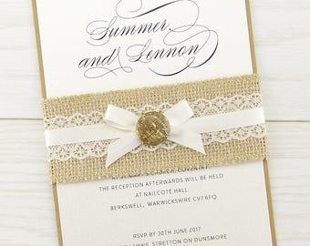 SAMPLE * Rustic Dixie Parcel Wrap Wedding Invitation