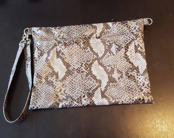 Vegan python leather clutch bag