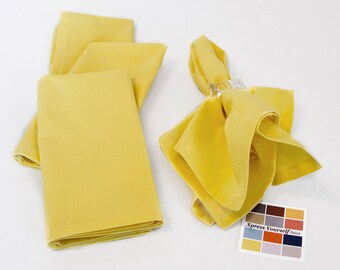 Yellow Cotton Napkins Set of Four, 18 x 18 Yellow Napkins with Mitered Corners, Custom Sized Napkins