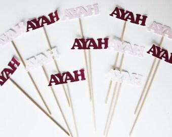 "12 mini skewers ""name"" in glitter paper - pink-fuchsia"