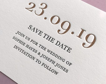 Letterpress save the date card: Copper ink, Simple, Luxury, hand printed, Wedding stationery