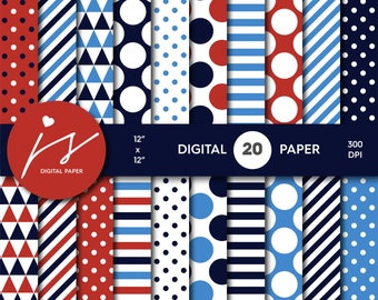 Red and blue digital paper, Blue and red scrapbooking, Blue paper, Blue backgrounds, Blue pattern, Blue polka dots, MI-684