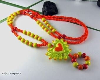 Long, orange yellow Heart Necklace, Lampwork heart