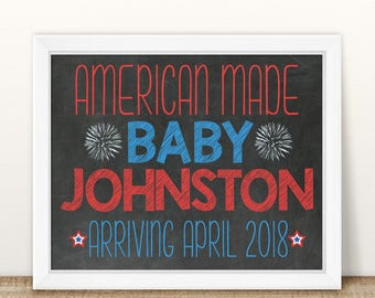 Printable Pregnancy Announcement, American Made, Labor Day, Memorial Day, 4th of July Pregnancy Announcement, Chalkboard Sign Red white blue