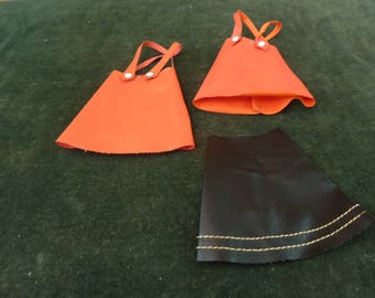 Vintage Sindy 1960's 2 red dress and 1 black Skirt Leather Look