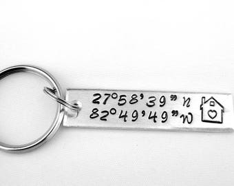 Map Coordinates, Latitude Longitude Keychain, GPS Coordinates Gift, Moving Away, Going to College Gift, Home Sweet Home, Long Distance Gift