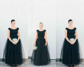 Tutu Skirt Black Plus Size  Formal Long Bridesmaids Wedding | Floor Length, Ankle Formal Long  Tutu Skirts Bride 2X 3X
