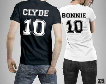 Bonnie Clyde Set camisetas para pareja, Bonnie y Clyde  camisetas personalizadas, Bonnie Clyde regalo aniversario, Regalo San Valentín