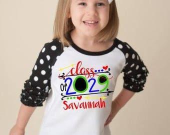 Class of 2029 shirt, Back to school shirt, kindergarten shirt, first day of school shirt, ruffle raglan, personalized