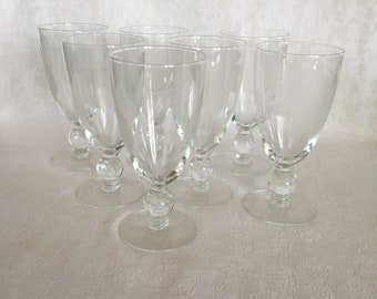 Clear Etched Leaf Glass Stemware Set of 7