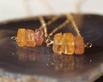 Topaz Rough Necklace, Raw Topaz Choker, Topaz Rough Necklace, Imperial Topaz, November Birthstone, Raw Topaz, Gemstone Necklace