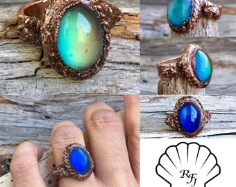 Moodring, mood ring, Mood stone ring, gift, mistical ring, goth ring, steampunk ring, copper ring, statement ring