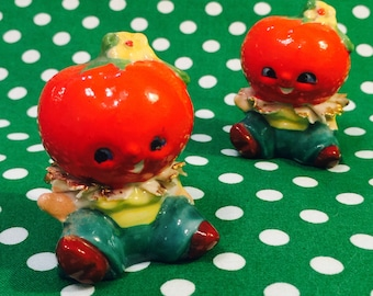 Wales Anthropomorphic Tomato Boys with Ruffles and Pants Salt and Pepper Shakers made in Japan circa 1950s