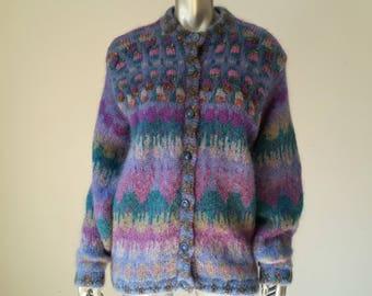 Irish Mohair Sweater | 80s Sweater | Irish Cardigan Womens | Oversized Cardigan Sweater | Mohair Cardigan | Made in Ireland |