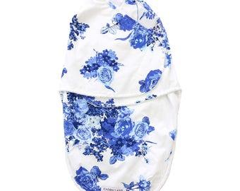 Juliet's Blue Floral Swaddle Wrap | Navy & Royal Vintage Floral Baby Swaddle