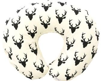 Hunter's Deer | Black Buck |  Black & Ivory Nursing Pillow Cover