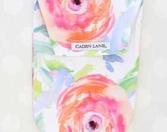 Bright Summer Blooms | Watercolor Floral Diaper and Wipe Holder | Watercolor Floral Baby Shower Gift